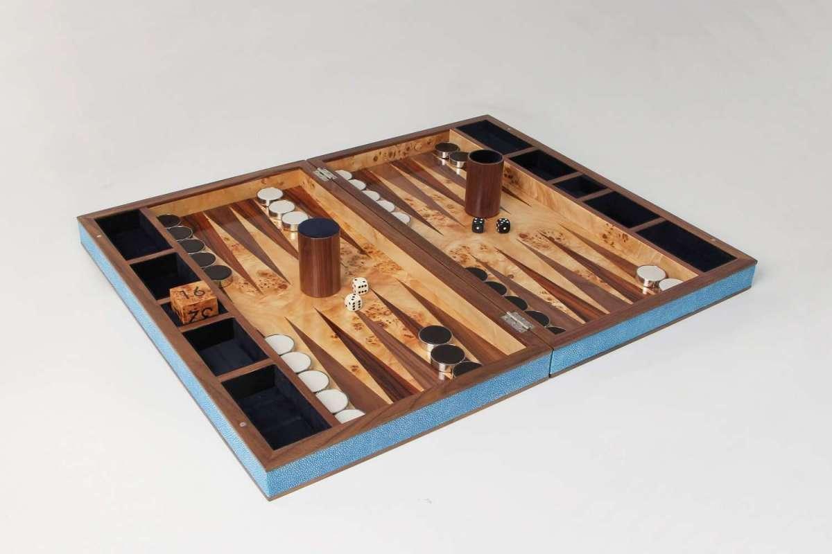 Backgammon Board in Duke Blue Shagreen by Forwood Design 2