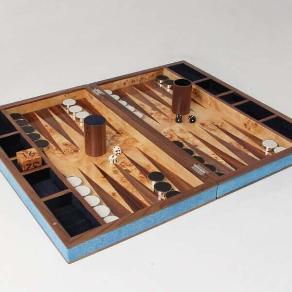 Backgammon Board in Duke Blue Shagreen by Forwood Design 2