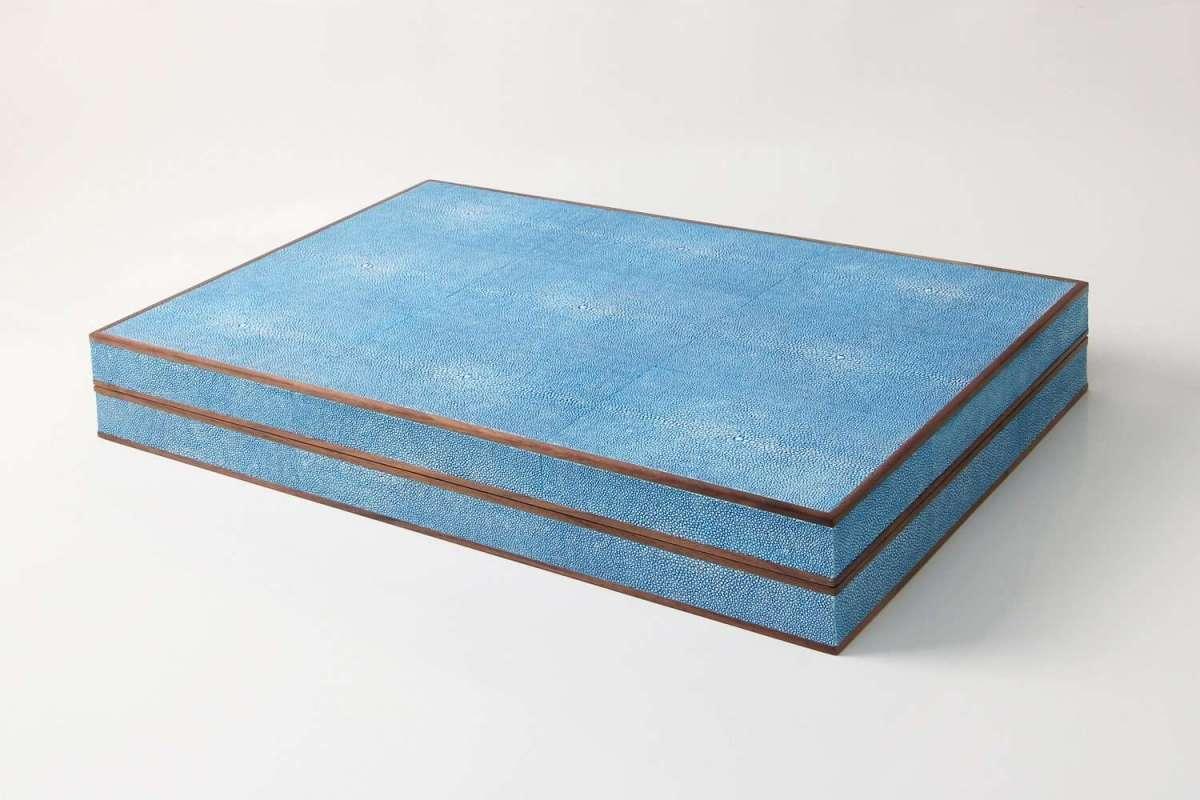 Backgammon Board in Duke Blue Shagreen by Forwood Design 1