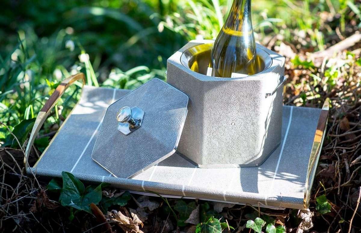 Otis Ice Bucket in Barley Shagreen by Forwood Design 1