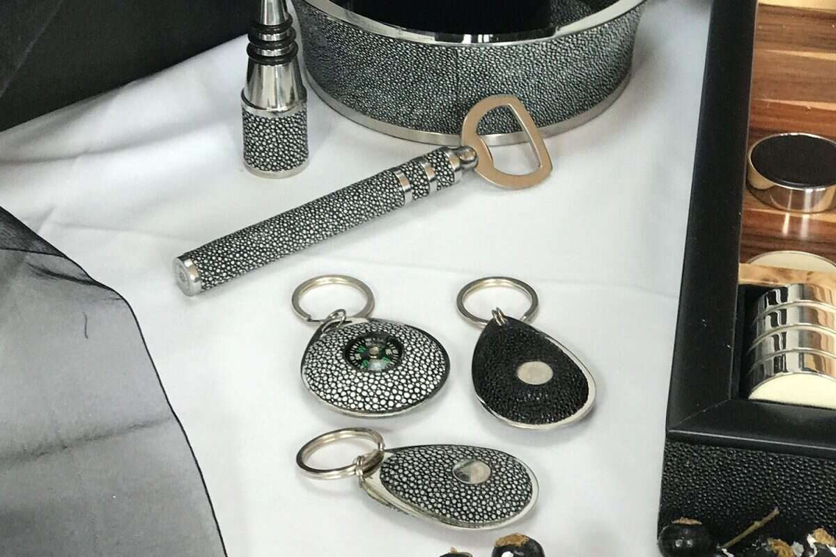 'Pear Drop' Key Fobs in Shagreen by Forwood Design 1