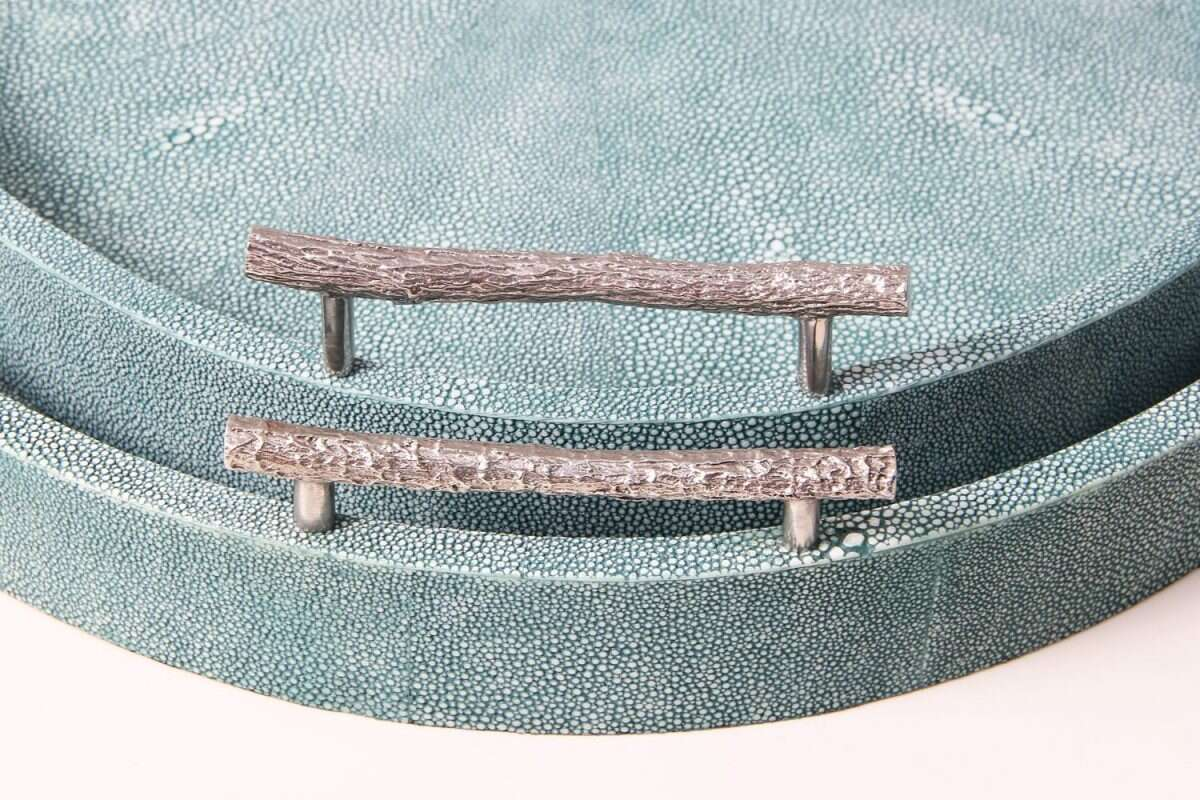 Oval Serving Trays in Teal Shagreen by Forwood Design 2
