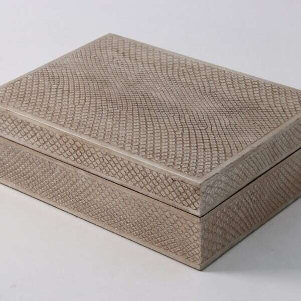 Ansley Jewellery Box in Silver Boa 1