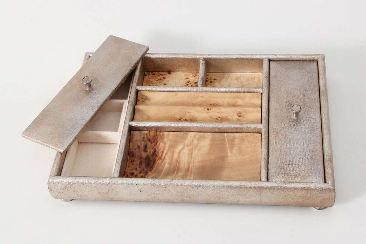 Melford Jewellery Tray in Silver Linen by Forwood design 2