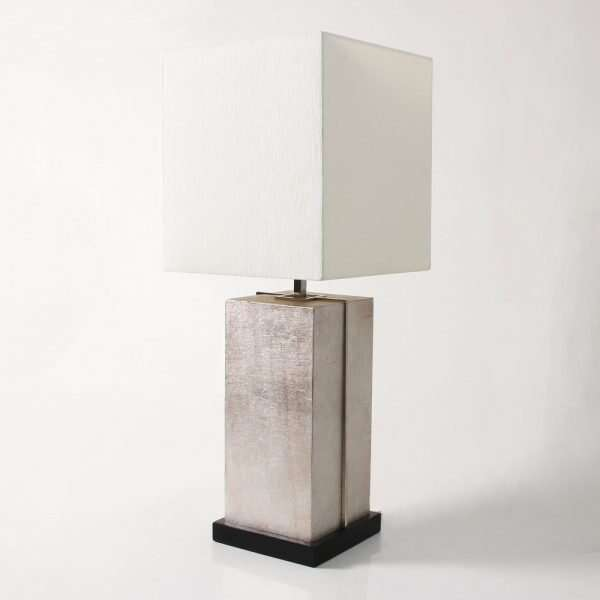 Laken Table Lamp in Silver Linen by Forwood Design 5