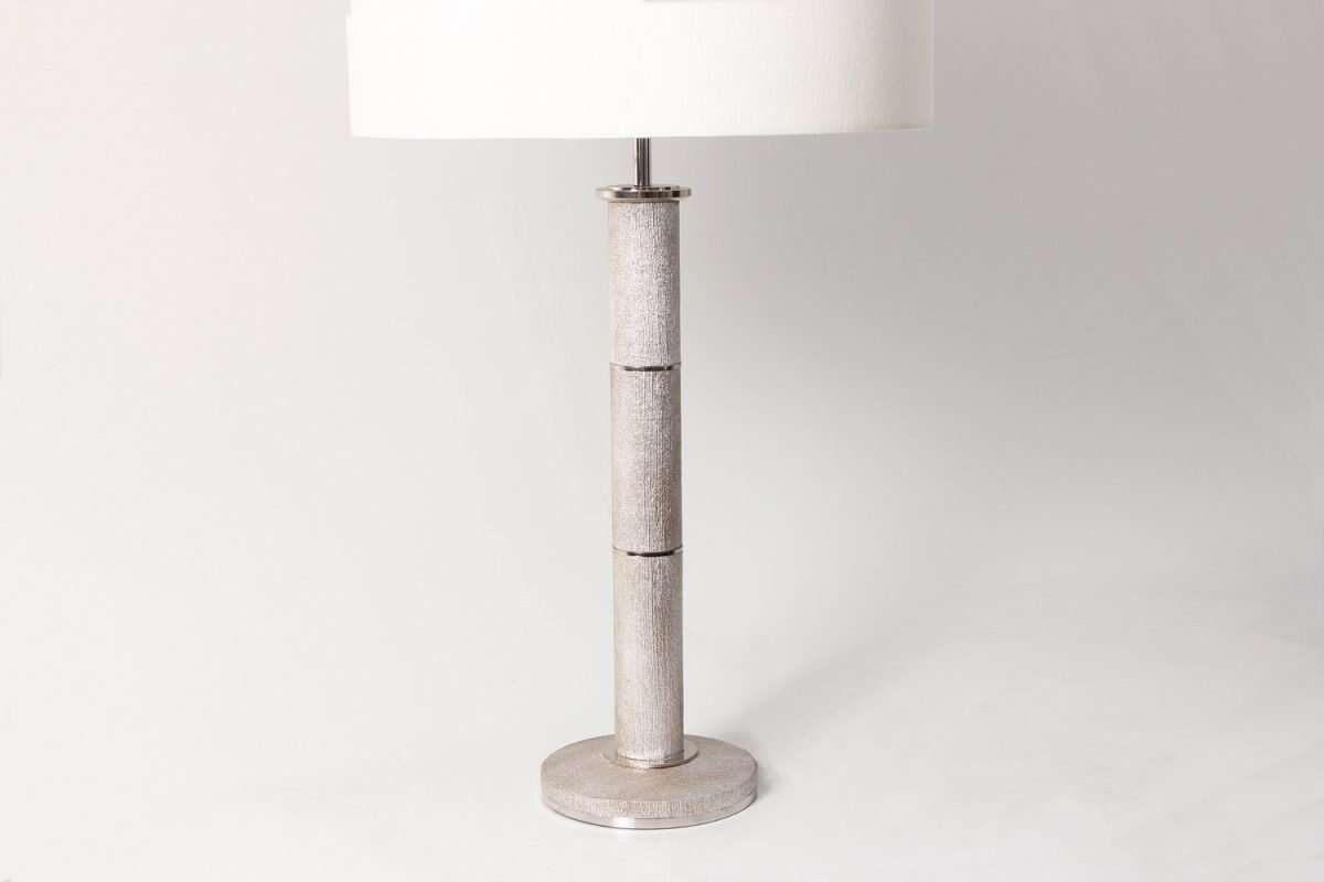Diss Column Table Lamp in Silver Silk by Forwood Design 4