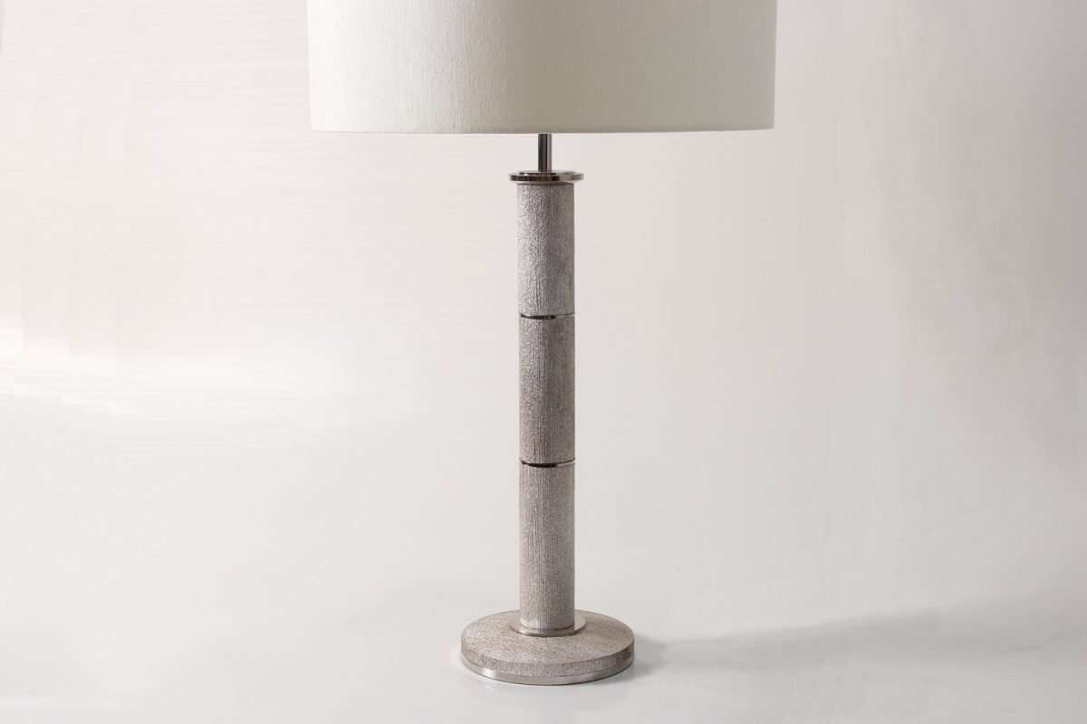 Diss Column Table Lamp in Silver Silk by Forwood Design 2