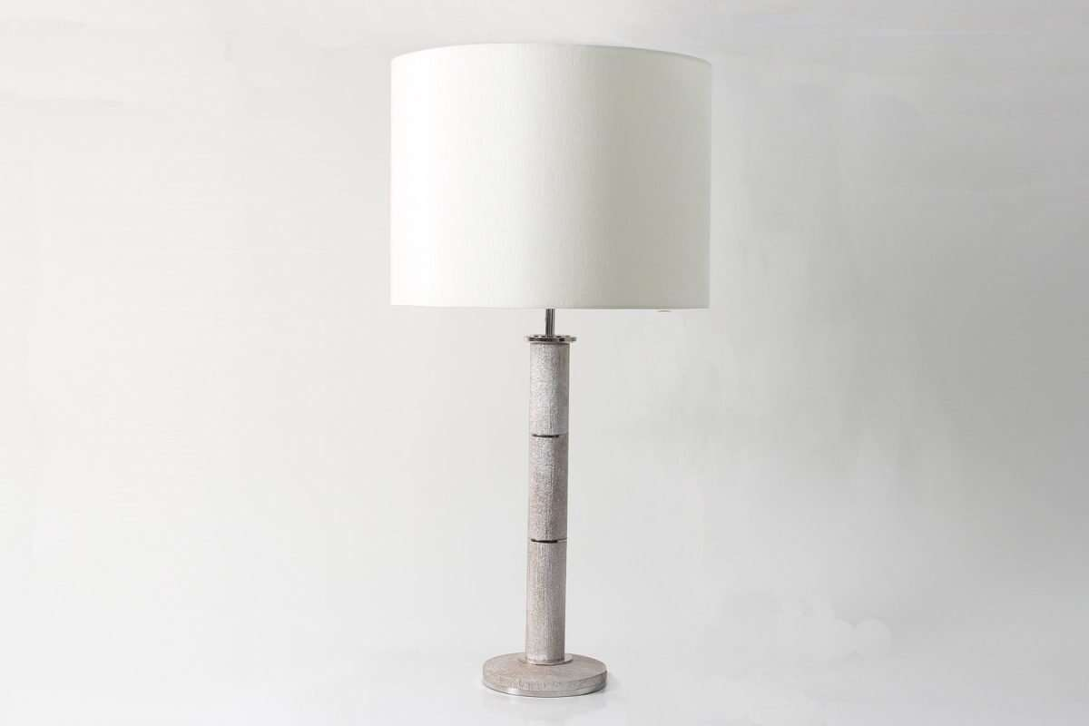 Diss Column Table Lamp in Silver Silk by Forwood Design 1