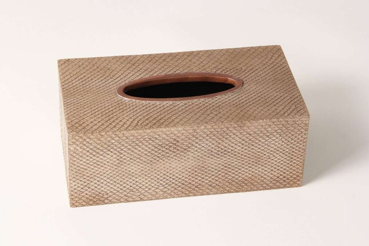 Boa Tissue Box in Antique Silver by Forwood Design 4