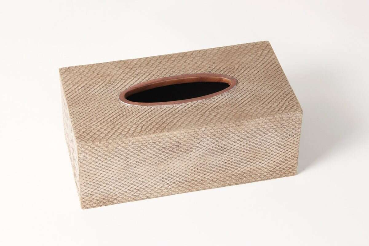 Boa Tissue Box in Antique Silver by Forwood Design 3