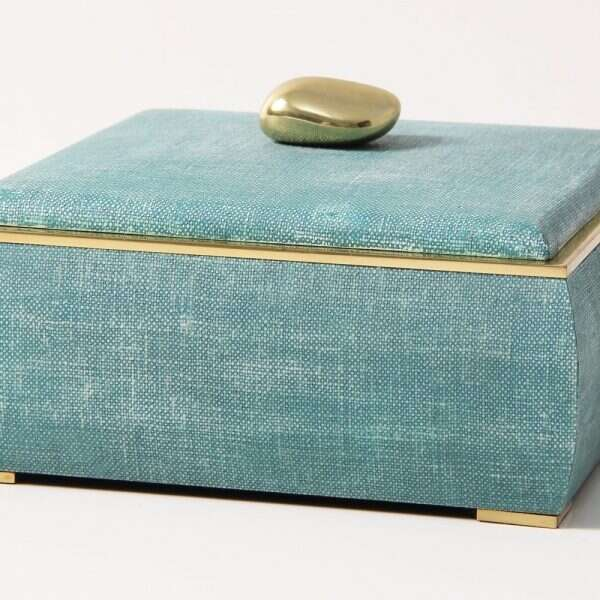 The Sophie jewellery box in teal linen 2