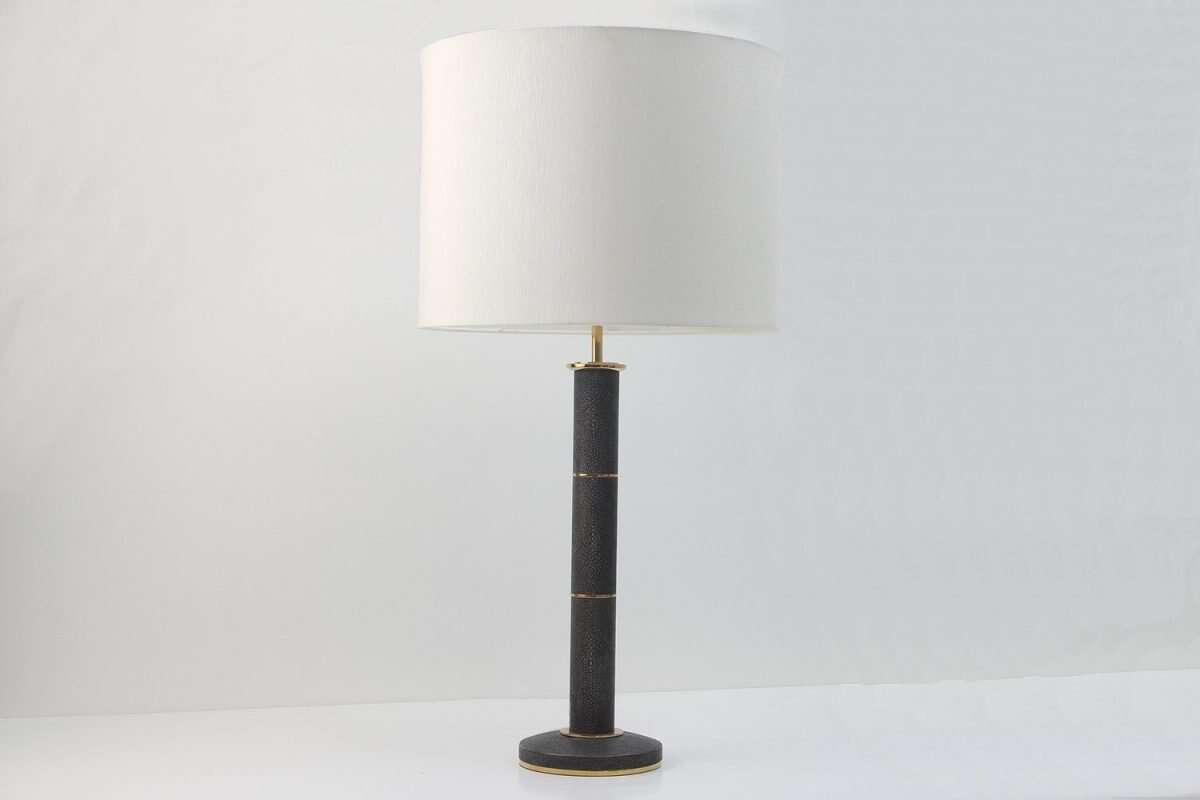 Column Lamp in Seal Brown Shagreen by Forwood Design 5