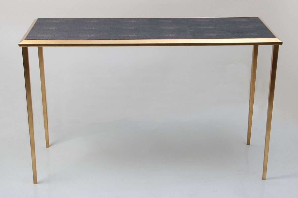 Console Table in Seal Brown Shagreen by Forwood Design 4