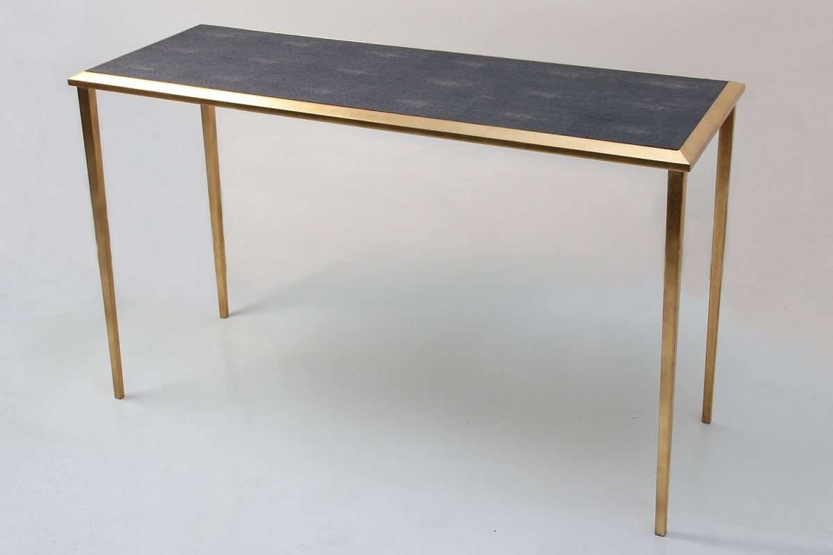 Console Table in Seal Brown Shagreen by Forwood Design 3