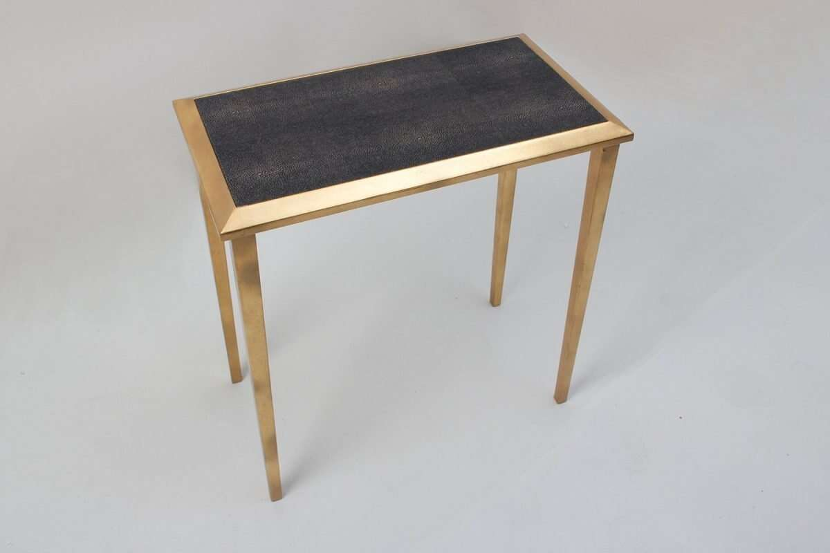 Lamp Table in Seal Brown Shagreen by Forwood Design 5