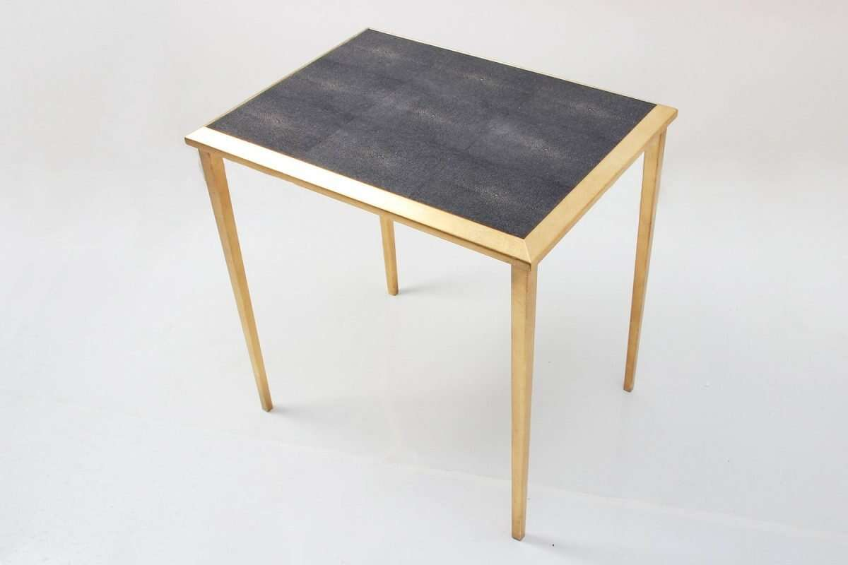 Side Table in Seal Brown Shagreen by Forwood Design 3