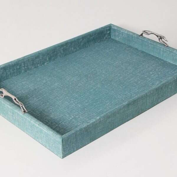 Linen Teal Tray with Greyhound Handles 5