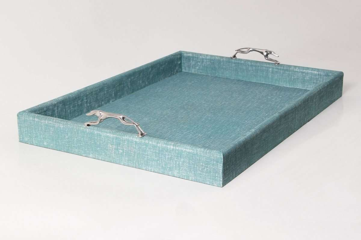 Linen Teal Tray with Greyhound Handles 3