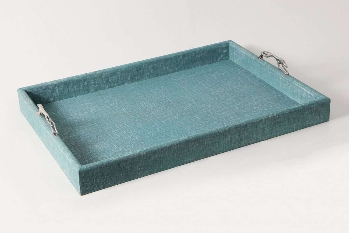 Linen Teal Tray with Greyhound Handles 2