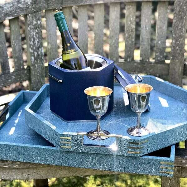 Otis Ice Bucket in Nile Blue Shagreen by Forwood Design 7