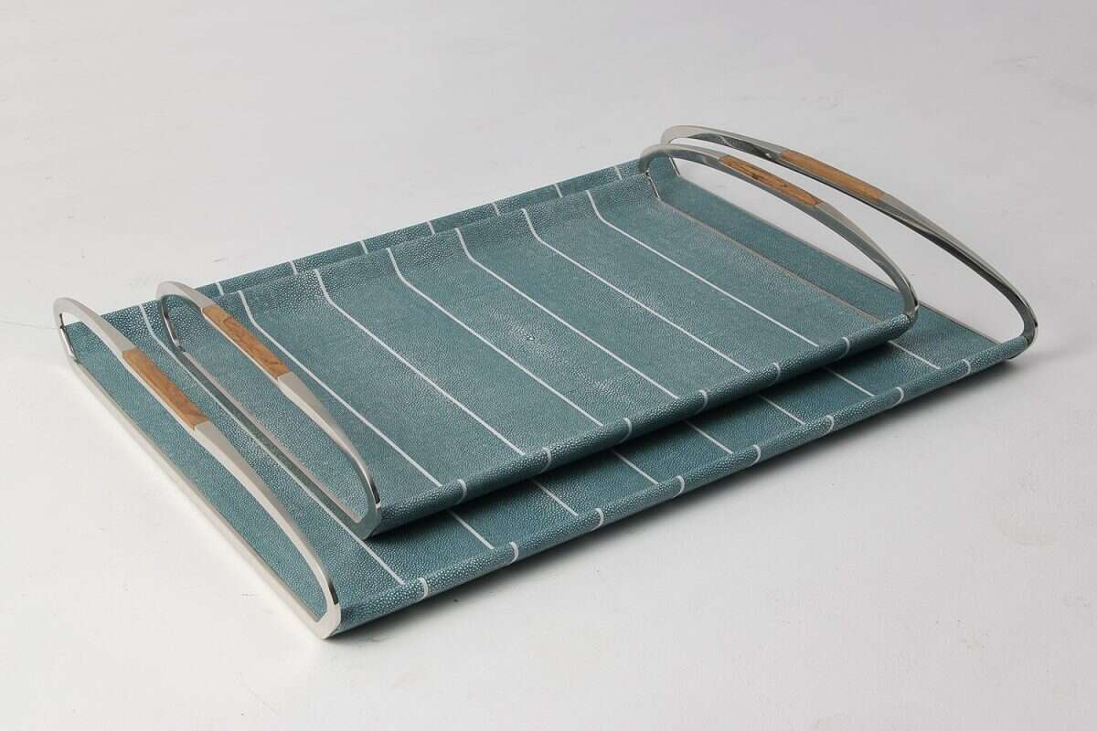 Jules Serving & Drinks Trays in Teal Shagreen by Forwood Design 2