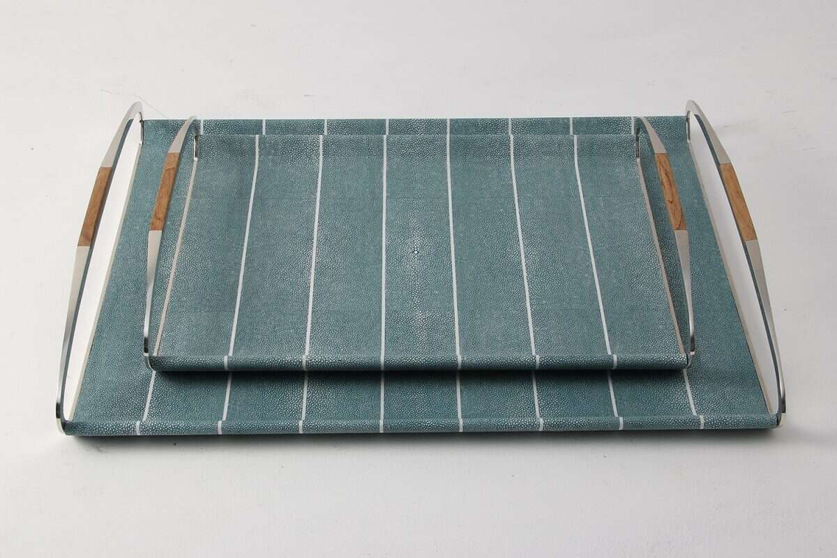 Jules Serving & Drinks Trays in Teal Shagreen by Forwood Design 1