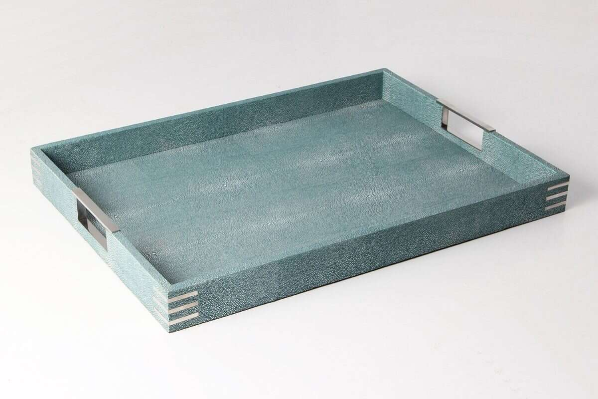 Brigitte Drinks & Serving Tray in Teal Shagreen by Forwood Design 5