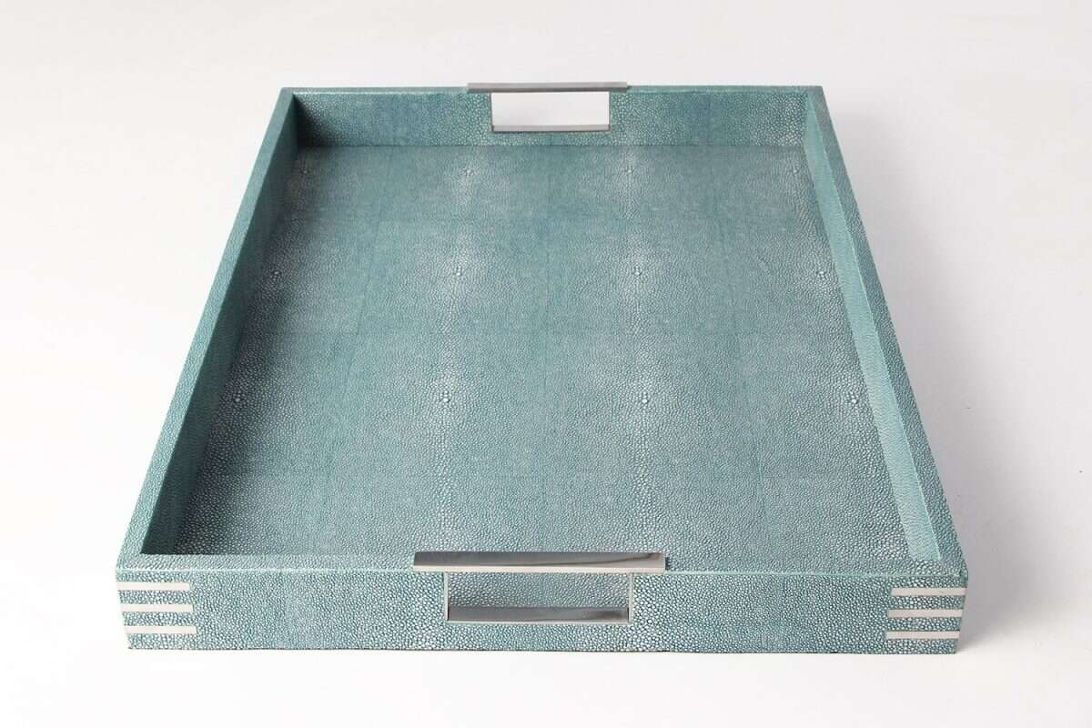 Brigitte Drinks & Serving Tray in Teal Shagreen by Forwood Design 4