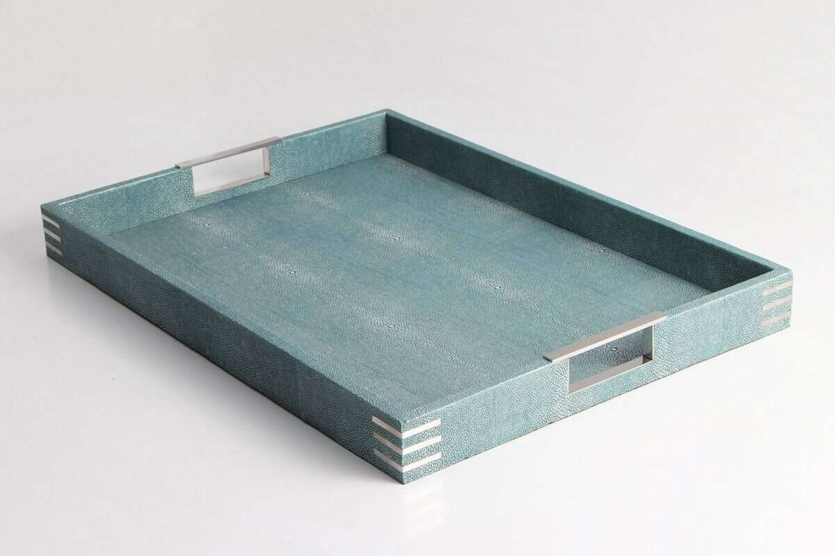 Brigitte Drinks & Serving Tray in Teal Shagreen by Forwood Design 3