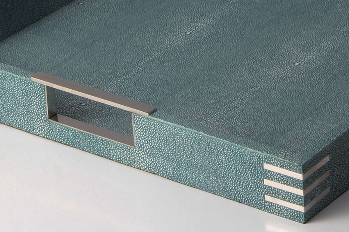 Brigitte Drinks & Serving Tray in Teal Shagreen by Forwood Design 2