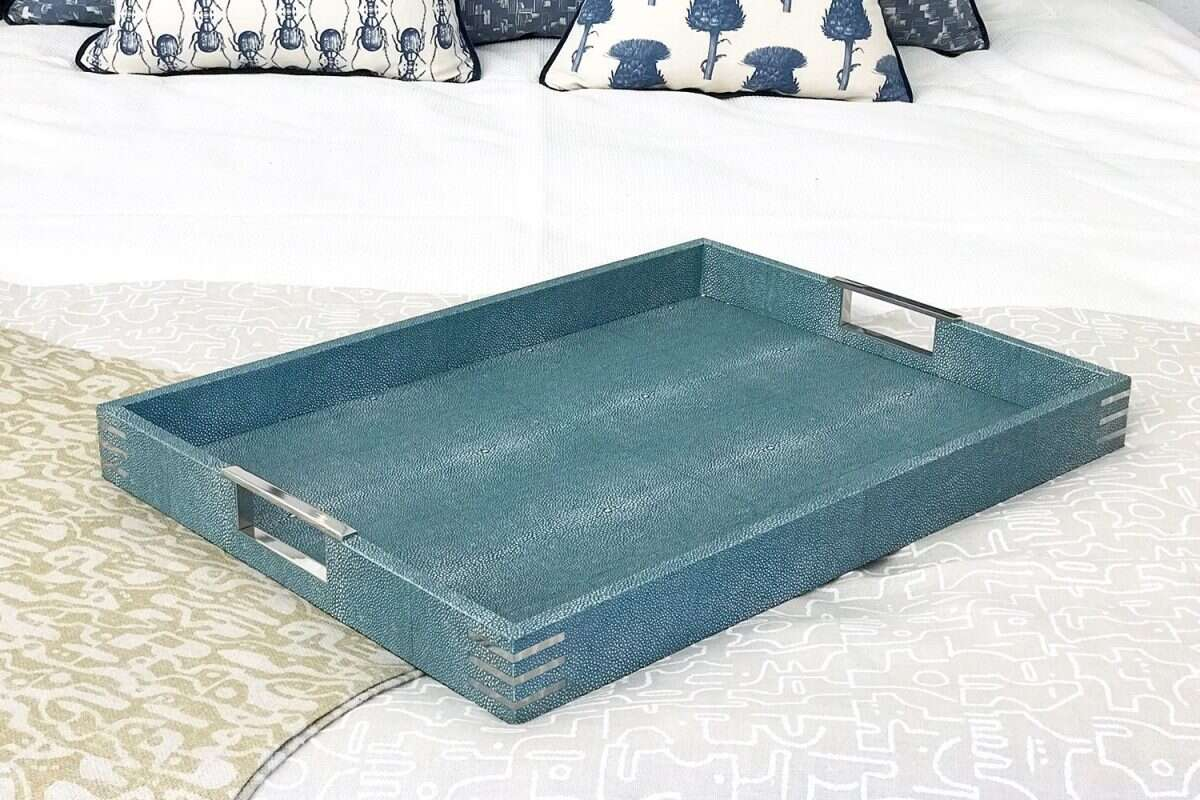 Brigitte Drinks & Serving Tray in Teal Shagreen by Forwood Design 1