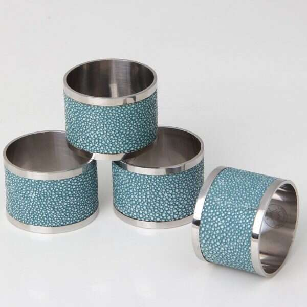 Napkin Rings in Teal Shagreen by Forwood Design 1