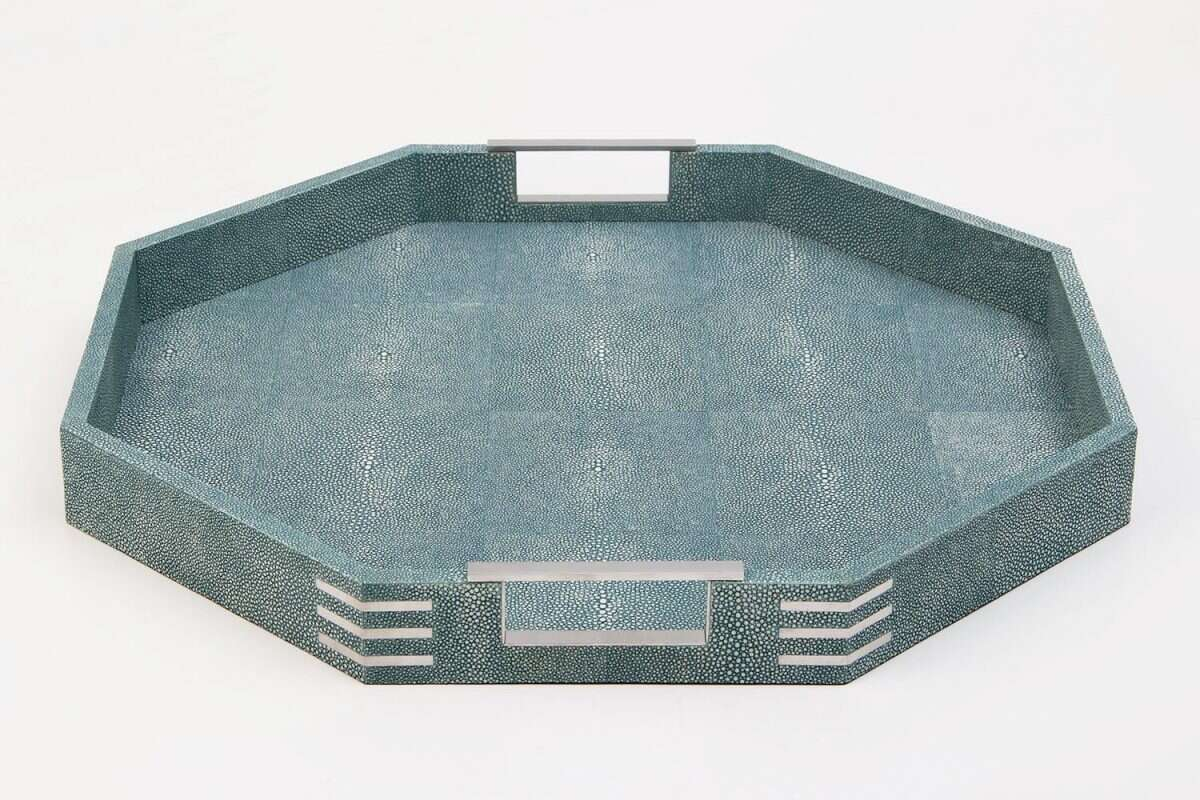Brigitte Octagonal Serving Tray in Teal Shagreen by Forwood Design 7