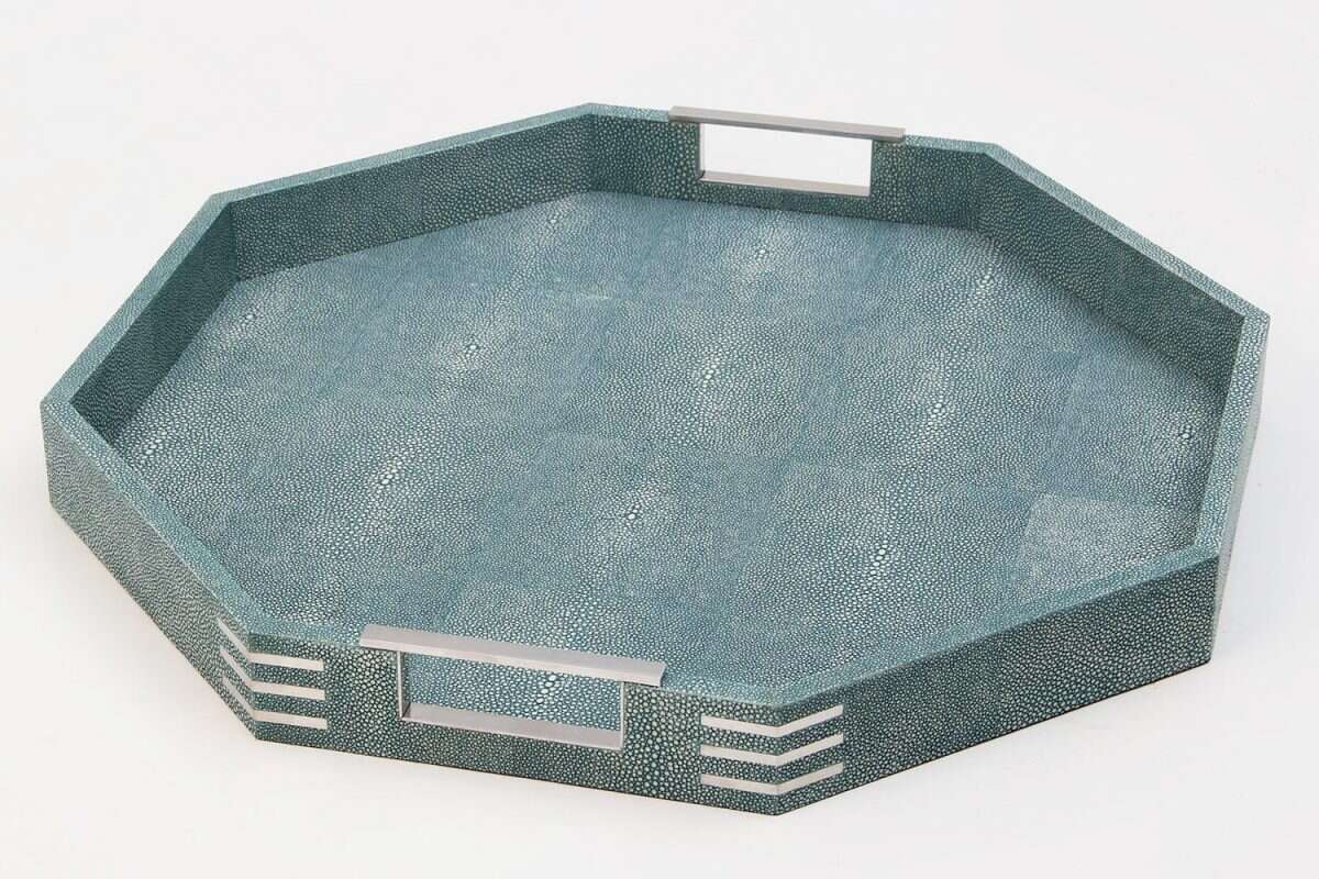 Brigitte Octagonal Serving Tray in Teal Shagreen by Forwood Design 6