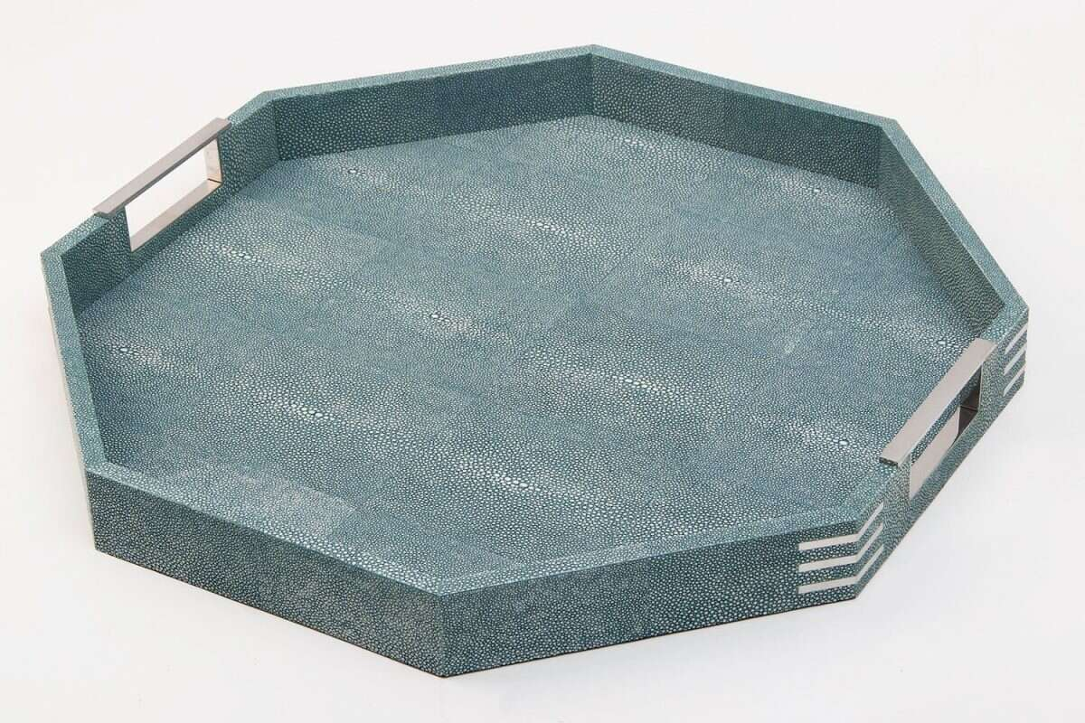Brigitte Octagonal Serving Tray in Teal Shagreen by Forwood Design 5