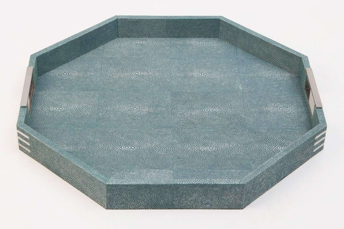 Brigitte Octagonal Serving Tray in Teal Shagreen by Forwood Design 4