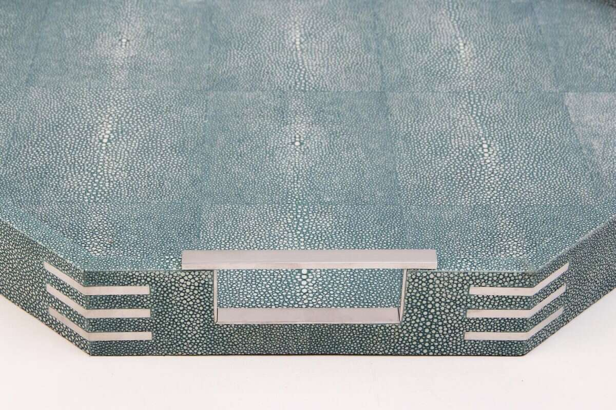 Brigitte Octagonal Serving Tray in Teal Shagreen by Forwood Design 2