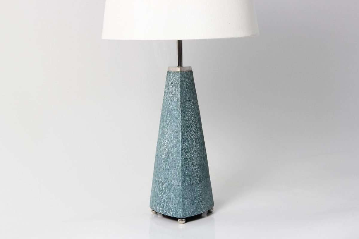 Steeple Table Lamp in Teal Shagreen by Forwood Design 2