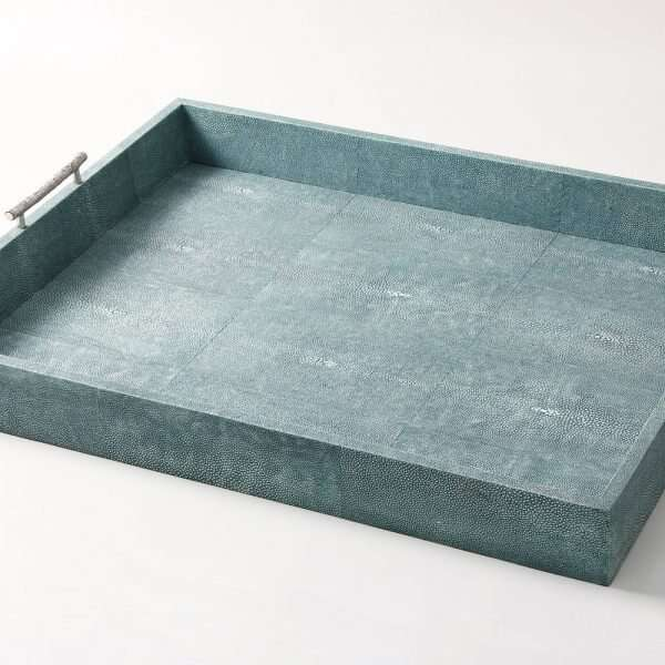 Rectangle Serving Trays in Teal Shagreen by Forwood design 14