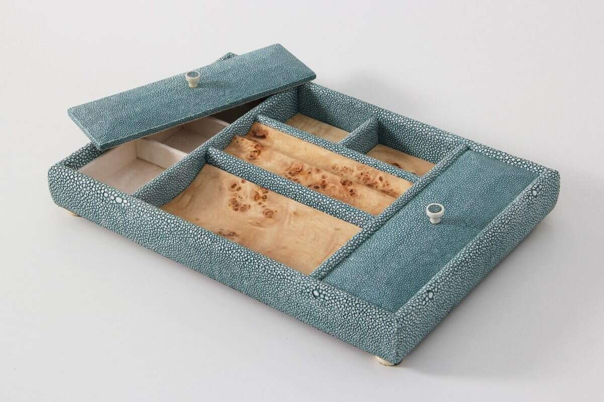 Melford Jewellery Tray in Teal Shagreen by Forwood Design 4