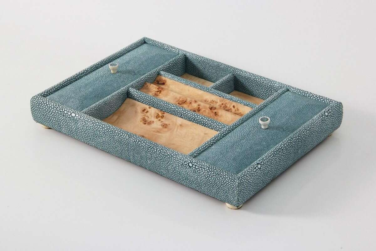 Melford Jewellery Tray in Teal Shagreen by Forwood Design 3