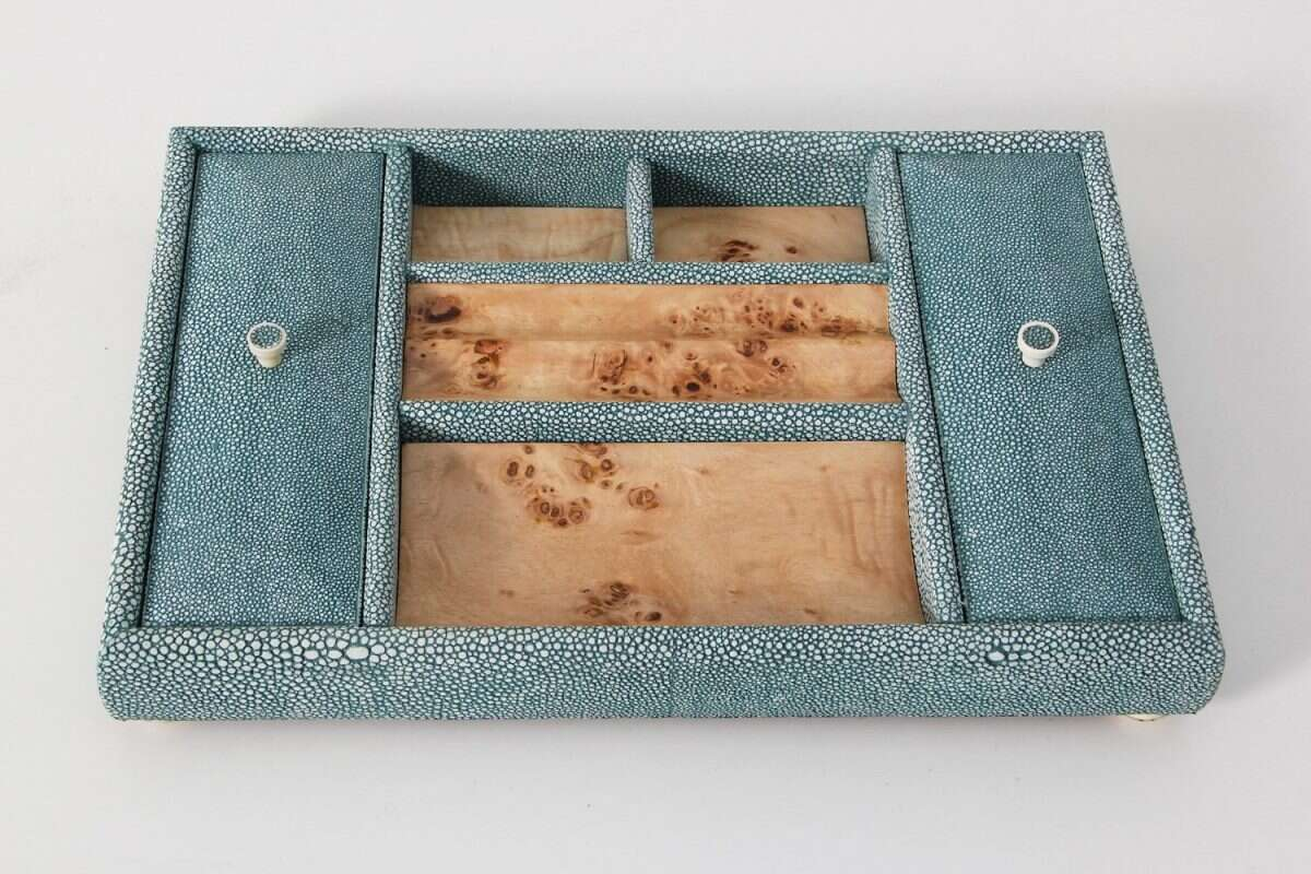 Melford Jewellery Tray in Teal Shagreen by Forwood Design 2