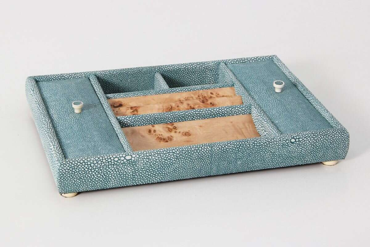 Melford Jewellery Tray in Teal Shagreen by Forwood Design 1