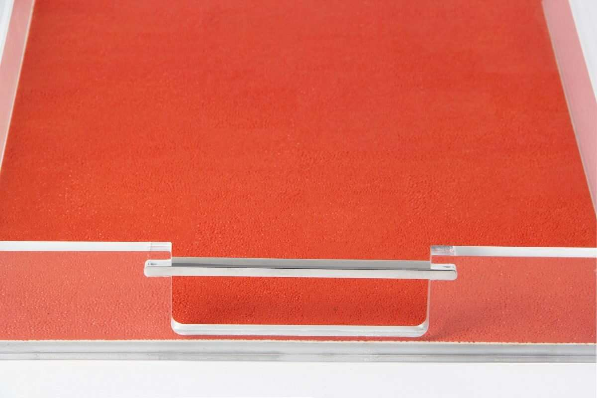 Acrylic Contemporary Tray in Tigerlily Orange Shagreen by Forwood Design 4