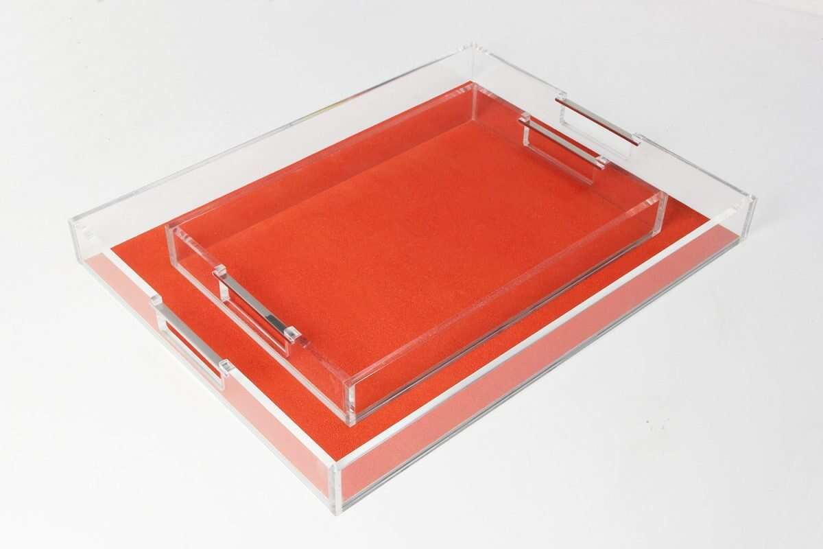Acrylic Contemporary Tray in Tigerlily Orange Shagreen by Forwood Design 3