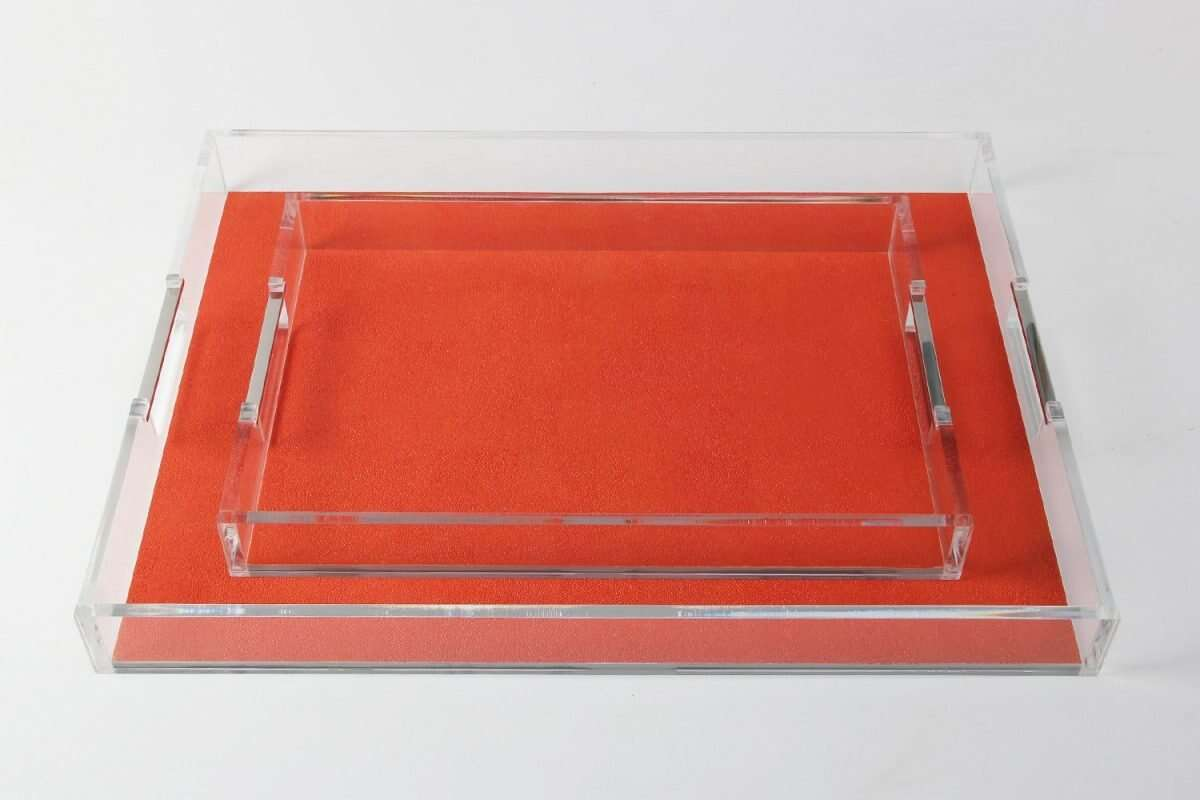 Acrylic Contemporary Tray in Tigerlily Orange Shagreen by Forwood Design 2