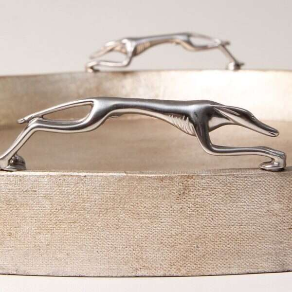 Greyhound Trays in Antique Silver Linen by Forwood Design 4