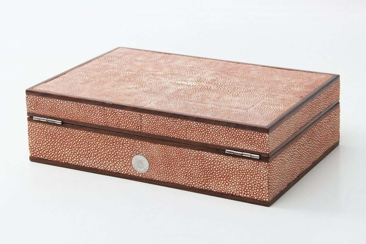 Ansley Jewellery Box in Coral shagreen by Forwood Design 4