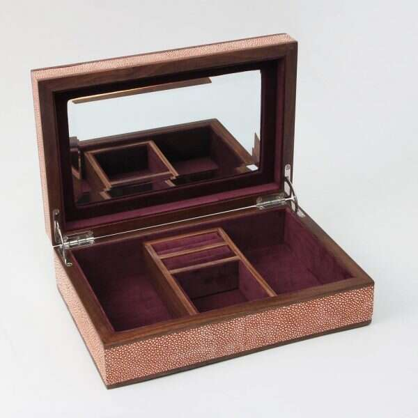 Ansley Jewellery Box in Coral shagreen by Forwood Design 3