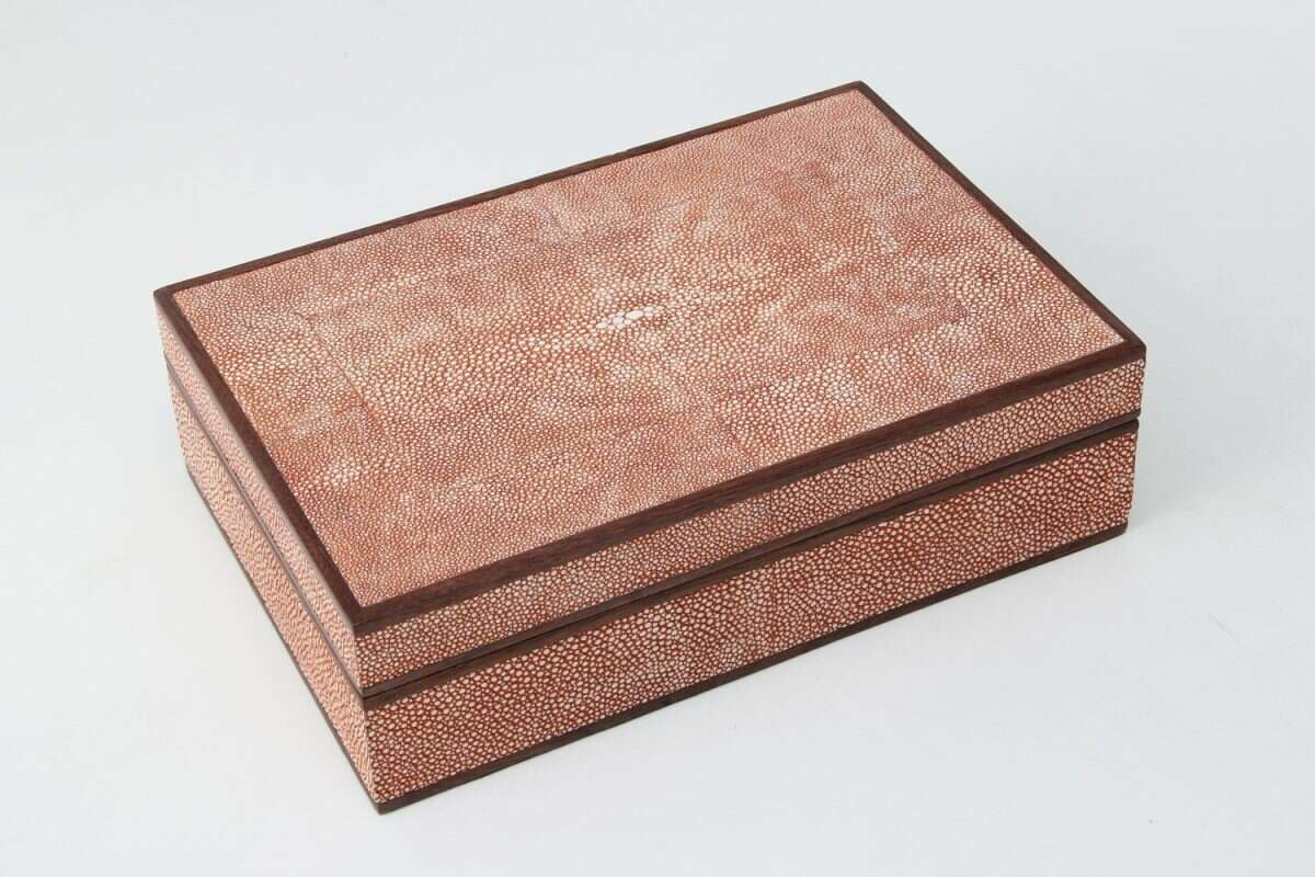 Ansley Jewellery Box in Coral shagreen by Forwood Design 2